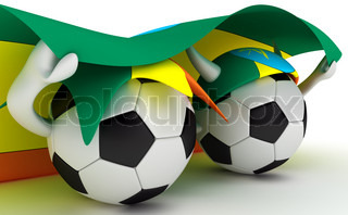 3D cartoon Soccer Ball characters with a Ethiopia flag.