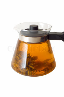 A glass teapot with Lotus Flower Chinese tea on white