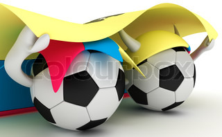 3D cartoon Soccer Ball characters with a Ecuador flag.