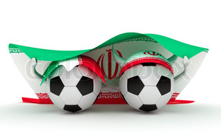 3D cartoon Soccer Ball characters with a Iran flag.
