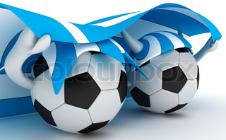 3D cartoon Soccer Ball characters with a Greece flag.