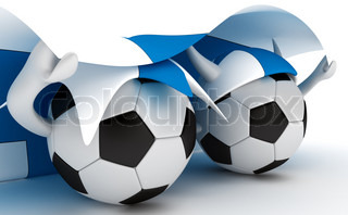 3D cartoon Soccer Ball characters with a Finland flag.