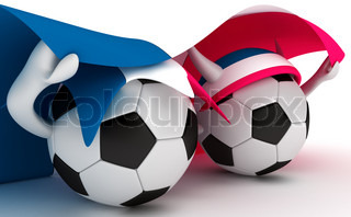 3D cartoon Soccer Ball characters with a France flag.