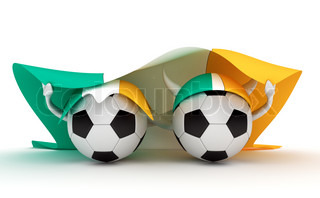 3D cartoon Soccer Ball characters with a Ireland flag.