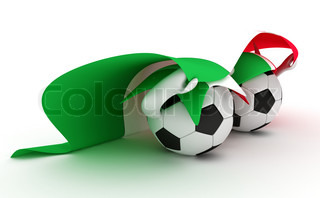 3D cartoon Soccer Ball characters with a Italy flag.