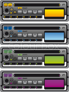 Vector illustration of different panel of cassette radio