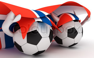 3D cartoon Soccer Ball characters with a Norway flag.