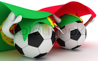 3D cartoon Soccer Ball characters with a Portugal flag.