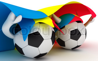 3D cartoon Soccer Ball characters with a Romania flag.