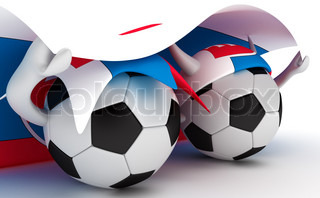 3D cartoon Soccer Ball characters with a Slovakia flag.