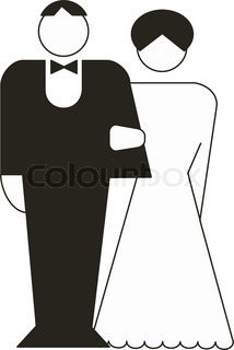 Abstract vector illustration of bride and groom
