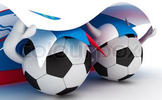 3D cartoon Soccer Ball characters with a Slovenia flag.