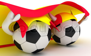 3D cartoon Soccer Ball characters with a Spain flag.