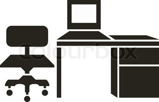 Abstract vector illustration of office furniture