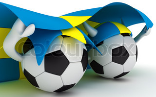 3D cartoon Soccer Ball characters with a Sweden flag.