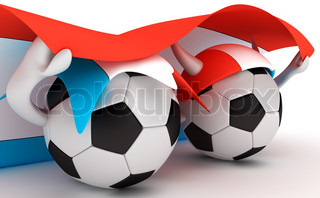 3D cartoon Soccer Ball characters with a Luxembourg flag.