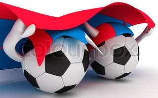 3D cartoon Soccer Ball characters with a Serbia flag.