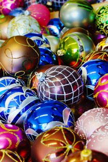Different kinds of colorful shiny christmas balls