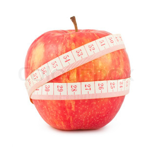 Tape measure wrapped around the red apple isolated on white