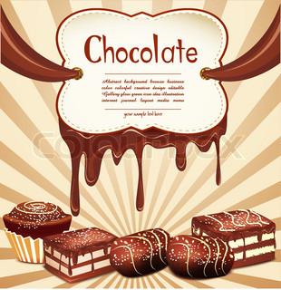 vektor ferie baggrund med chokolade, slik og chokolade pletter