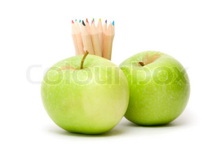 Ripe apples fruit and color pencils  isolated on white background