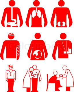A set of  vector icons of hospital objects
