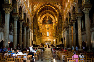 interior of Duomo di Monreale, cathedral near Palermo, Sicily