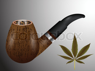 wooden smoking pipe and cannabis leaf, abstract vector art illustration; image contains transparency