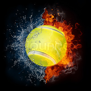Tennis Ball in Fire and Water Isolated on the Black Background