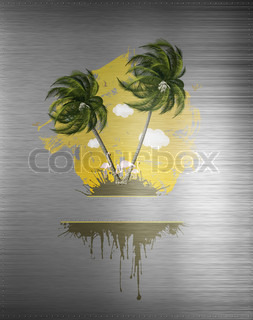 Palm Party Poster on Metal Background. Computer Graphics.
