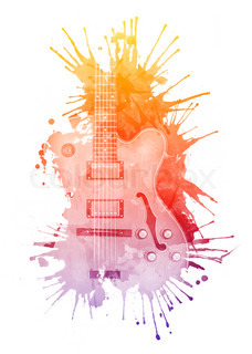 Electric Guitar in watercolour isolated on White Background.