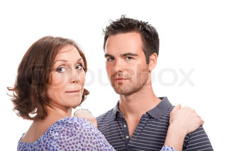 young couple in love, close up, studio shot