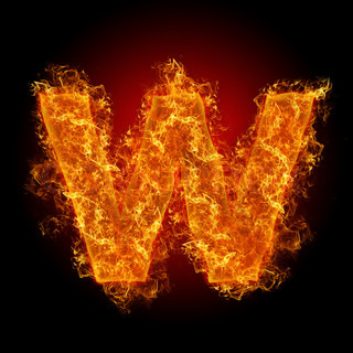 Fire small letter W on a black background