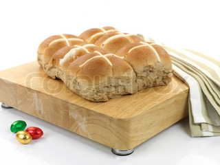Hot Cross Buns isolated against a white background