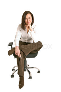 businesswoman  at office, isolated on white background