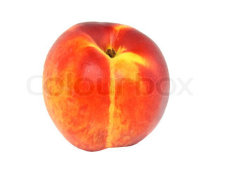 Single peach on white background. Isolated over white