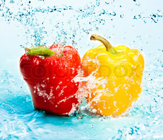 fresh water splash on peppers
