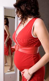 21 weeks happy pregnant yong woman