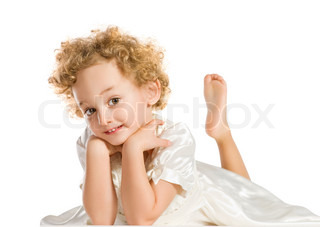Pretty curly blond  little girl. Isolated on white background