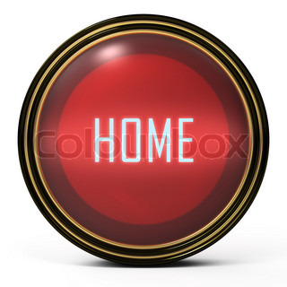 Black Gold button. Red orb icon with a home word