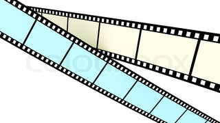 Colored film on white background crossing screen