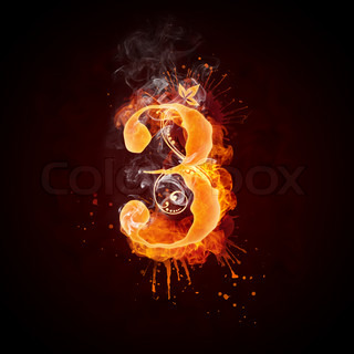 Fire Swirl Letter 3 Isolated on Black Background. Computer Design.