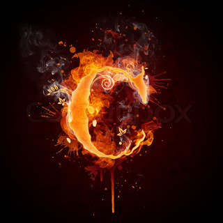 Fire Swirl Letter C Isolated on Black Background. Computer Design.