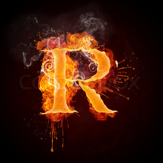 Fire Swirl Letter R Isolated on Black Background. Computer Design.