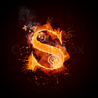 Fire Swirl Letter S Isolated on Black Background. Computer Design.