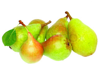 Heap of pear with stem and green leaf. Isolated over white