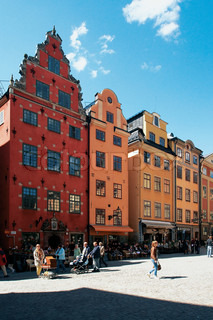Old houses in the trade area of the old city in Stockholm