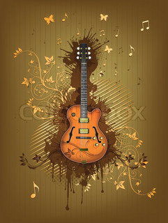 Retro Electric Guitar With Abstract Swirl isolated on Background.Vector.