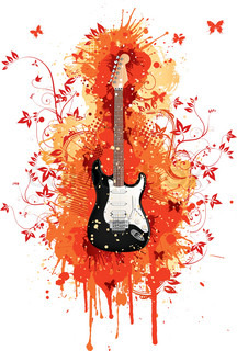 Electric Guitar With Abstract Swirl Isolated on White ...