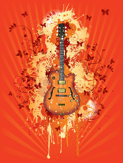 Electric Guitar With Abstract Svirl on Summer Background.Vector.